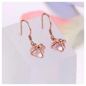 Jewelry - ❤JUST IN ❤ 925 RGP Rose Quartz Heart Earrings
